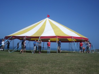 Up goes our little bigTop tent